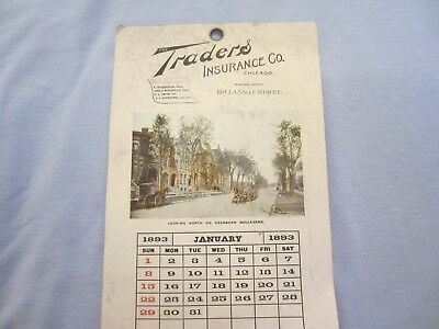 Rare 1893 Intact Calendar The Traders Insurance Co. Chicago