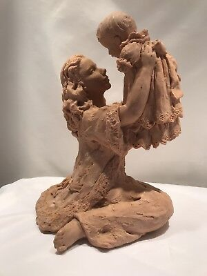 Antique Mother And Child Statue, Clay statue