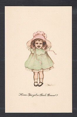 Cute Little Girl w/Bonnet Signed By Artist Mary Connell c.1909 Postcard...#331R
