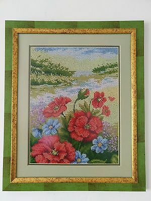 Handmade Completed Embroidery Beadwork Flowers Red Picture Framed