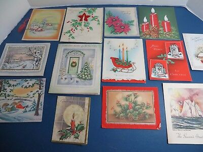 Vintage Late 1940's-50 Christmas Cards, Lot of 13
