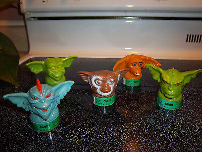 Rare Complete Set Of 5 Gremlins Movie Topps Candy Containers. With Candy Still.