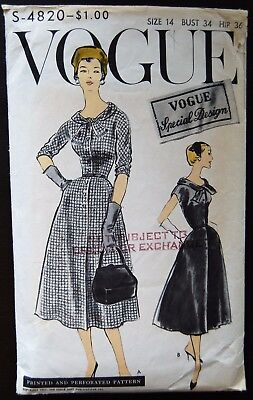 Vintage Original Vogue Special Design 50's Dinner Dress Pattern No S-4820