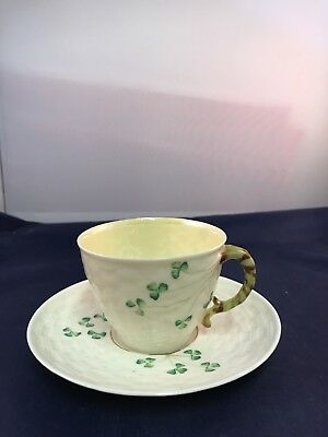 Vintage Belleek Cup and Saucer Basket Weave Shamrock 6th Mark (3rd Green Mark)