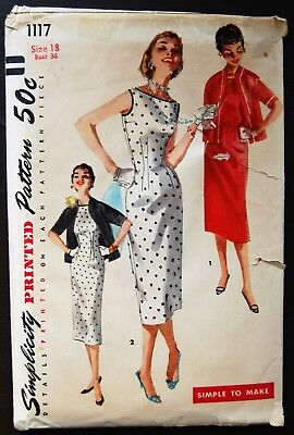 Vintage Original Simplicity 50's Dinner Dress/Jacket Pattern No. 1117