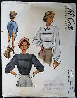 Vintage Original McCall 40's Blouse Pattern No. 7335