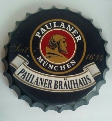 Paulaner Munchen Brauhaus Metal Beer Bottle cap Sign German  Munich 14""