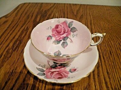 Paragon China American Beauty Roses Cup And Saucer Pink Double Roses Her Majesty
