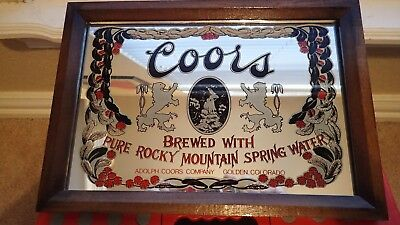 Vintage Coors Beer Glass Mirror Sign Advertisement Wood Frame Man Cave