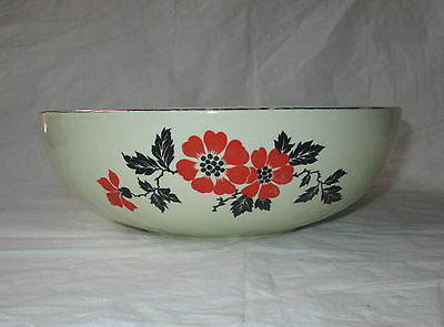 "Hall RED POPPY 9"" Coupe Salad Serving Bowl, Platinum Trim"