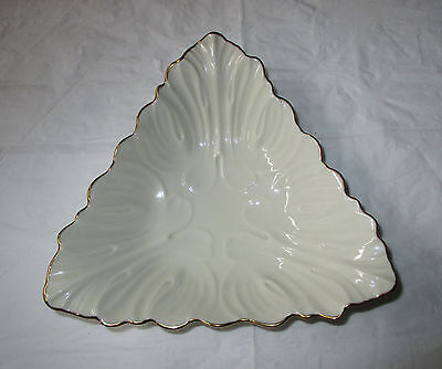 """Vintage Lenox China TRIAD Collection 7-3/8"""" Dish, Triangle, Gold Trim, c. 1980s"""