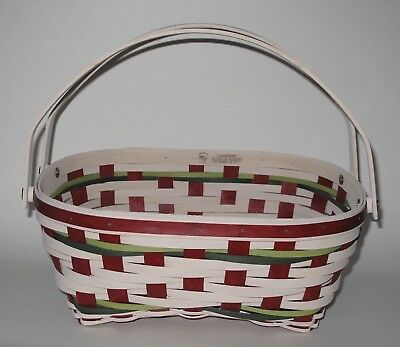 Longaberger 2017 Holiday Host Snow Drift Basket In Whitewashed Red/green