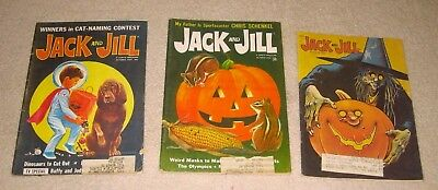 3 Vintage Jack and Jill Magazines, Halloween, October 1967, 1968 & 1976; Witch