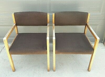 Vintage Mcm Teak Or Walnut Office Desk Arm Chairs Danish Style Hiebert Company