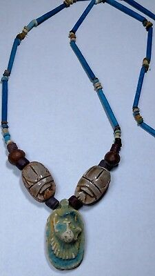 """Anubis Proctor of Tombs Egyptian Necklace Mummy Beads Hand Beaded Terracotta 26"""""""