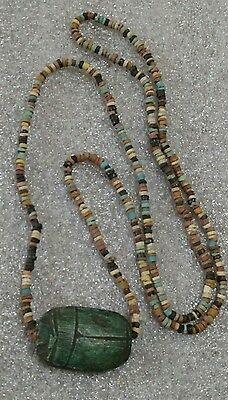 """Egyptian Pharaoh's Necklace, Mummy Beads Terracotta 32"""" Beetle Scarab Amulet,/A5"""