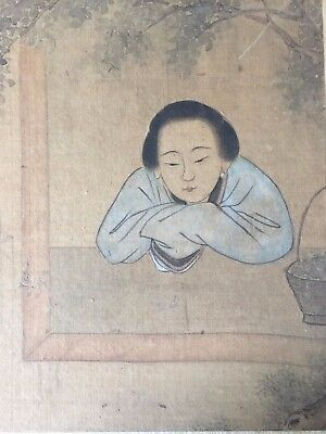 ANTIQUE CHINESE INK ON SILK PAINTING OF WOMAN KANG XI DYNASTY GAI YI (2 of 4)