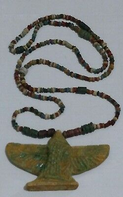 """Isis Goddess of Marriage Egyptian Necklace Mummy Beads Hand Beaded Terracotta28"""""""