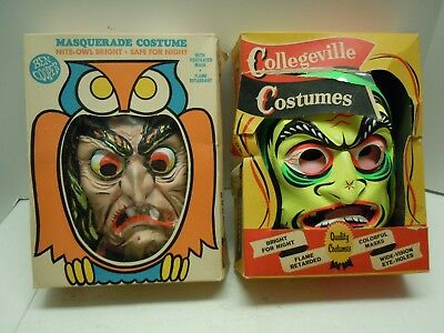 1958 Child's Halloween Mask & Costume Lot - Collegeville Fairy Witch & Copper W