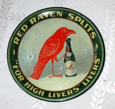 """1905-Red Raven Splits -Tip Tray-For High Livers-4.25""""-Chas Shonk -Advertising"""