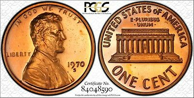 1970-S PCGS PR67RD CAM Small Date Lincoln Memorial Cent 1C Ships Free