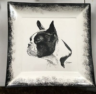 """Large 10"""" square signed Platter/Plate w/ Boston Terrier Dog head 1998"""