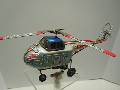 1950's Alps Japan Rare Lg Tin Friction Sikorsky S-55 Helicopter. A+. WORKS. NR