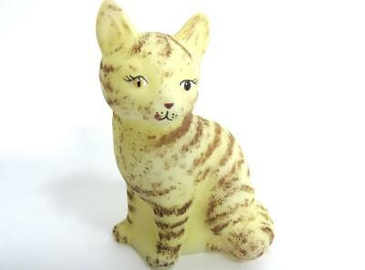 Vintage Fenton Glass Satin Yellow Tabby Sitting Kitty Cat Hp-Cc Hardman-Sample
