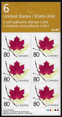 Canada Stamps -Booklet Pane of 6 -Red Maple Leaf on Twig #2013ai (BK282Aa) -MNH