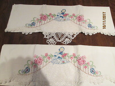 Southern bell crocheted and  embroidered pillowcases, vintage