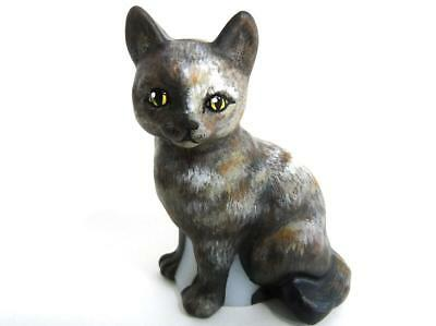 VINTAGE FENTON ART GLASS HP CALICO SITTING KITTY CAT FIGURINE by CC HARDMAN 1-2