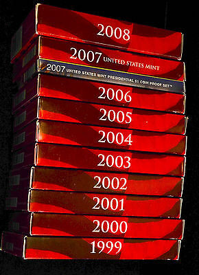 COMPLETE SET SILVER 90% PROOF SETS - 109 TOTAL COINS - 1999-2008 W/ COAs & BOXES