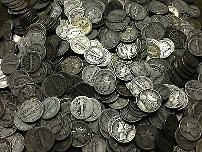 Lot Of 500 Mercury Dimes Circulated Various Dates & Condition