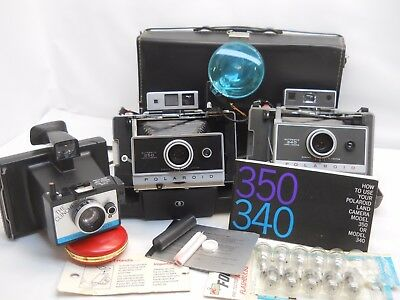 Polaroid Land Cameras 340 w/ Timer & 250 + 'the Clicker' case Flash & Bulbs