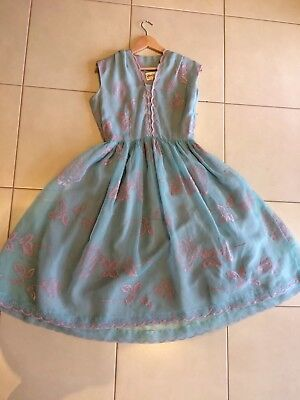Stunning 50's 12 10 Vintage Powder Blue Pink Formal Dress Great Condition Prom
