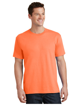 Port & Company PC54 Mens 50%-50% BLEND T-Shirt NEW BLANK TSHIRT   -NEON ORANGE