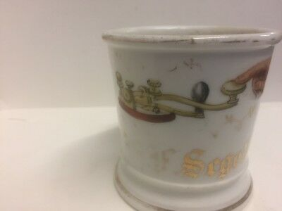 Occupational Shaving Mug Appears To Be For Telegraph Operator Porcelain 1800s