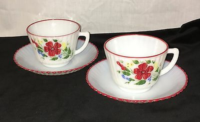 2 Petalware Monax* Red Trim Floral*mountain Flower*cups & Saucers*