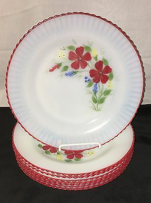 "8 Petalware Monax* Red Trim Floral*mountain Flower* 9"" Dinner Plates* Htf*"