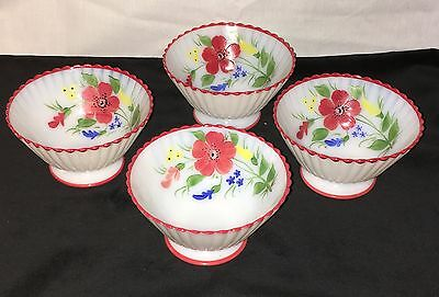 "4 Petalware Monax* Red Trim Floral*mountain Flower*4 1/2"" Sherbets *"