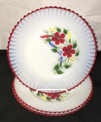 "4 Petalware Monax* Red Trim Floral *mountain Flower *8"" Salad Plates*"