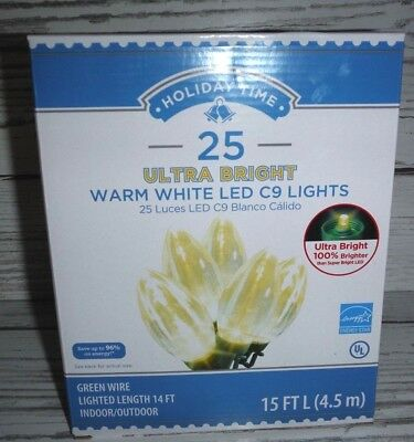 Holiday Time Christmas Lights.Holiday Time Led C9 Ultra Bright Christmas Lights Warm White Bulbs 25 Count