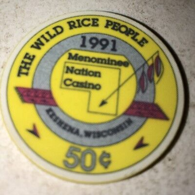 Menominee Nation Casino $.50 Casino Chip Keshena Wi. 2.99 Shipping