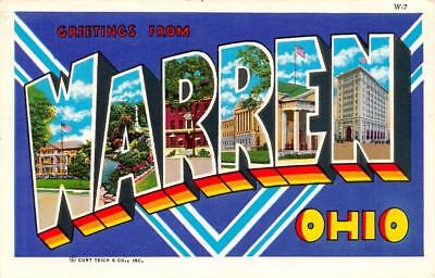 OH, Ohio   WARREN LARGE LETTER GREETINGS  Trumbull County   Chrome Postcard