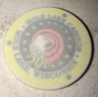 Mole Lake Casinos $.50 Casino Chip Mole Lake Wi. 2.99 Shipping