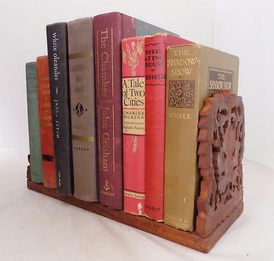 Vintage Hand Carved Expandable Book Rack Made in India Himalayan Sheesham Wood
