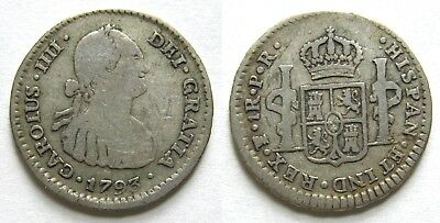 1793 Bolivia 1 real PR, Spanish silver coin, COMPLETE LETTERING