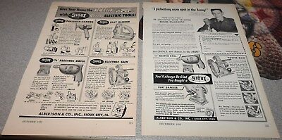 Lot of 9 Vintage 1950s SIOUX Wood Tools Print Ads - Sioux City, IA