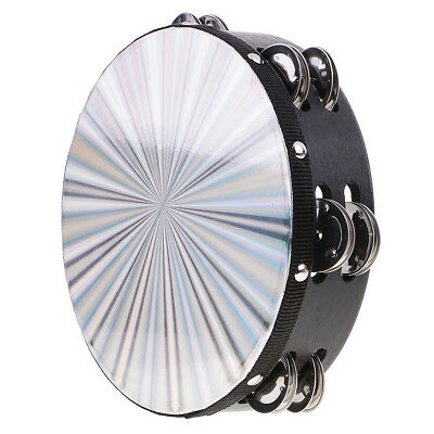 Handheld Double Row Jingle Tambourine Hand Percussion for Kids Band Parts