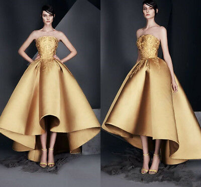b50160cd4e24 Gold High-Low Elegant Evening Dress Strapless Pageant Celebrity Prom Formal  Gown